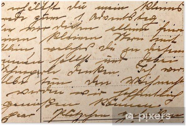 Póster Fragmento De Una Vieja Carta Manuscrita Escrita En Alemán