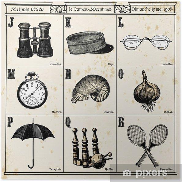 Poster Français Alphabet N ° 2 - Textures
