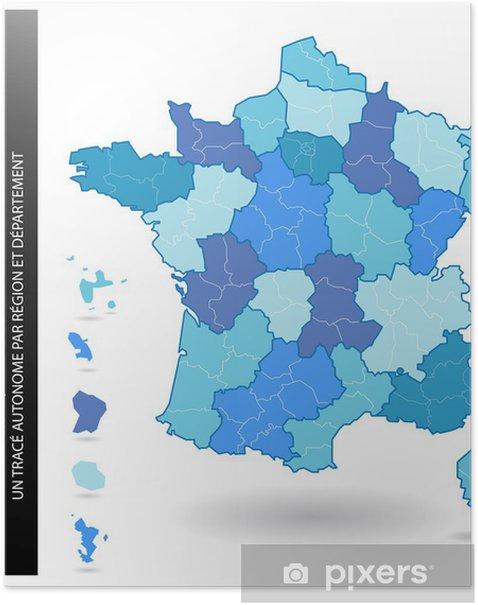 Poster France Carte Muette Regions Et Departements Pixers Nous Vivons Pour Changer