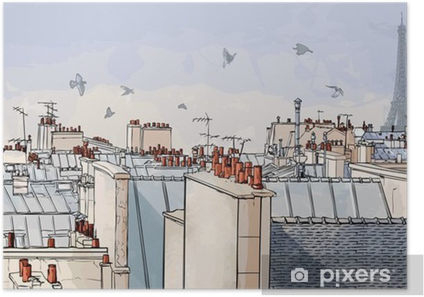 France - Paris roofs Poster -