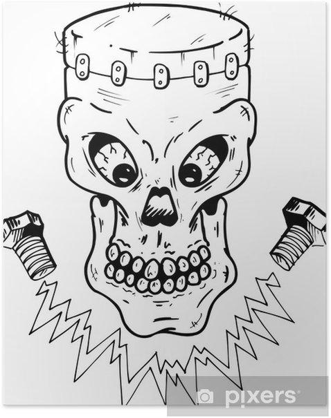 Poster Frankenstein crâne de style illustration vectorielle - Parties du corps