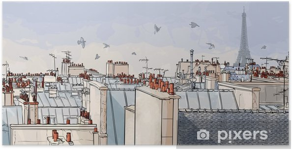 Poster Frankrike - Paris tak -