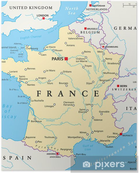 Karta Sverige Frankrike.Poster Frankrike Political Map Pixers Vi Lever For Forandring