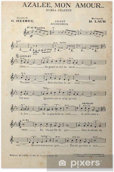 Poster Franse antieke vintage muziek blad. - Grafische Bronnen