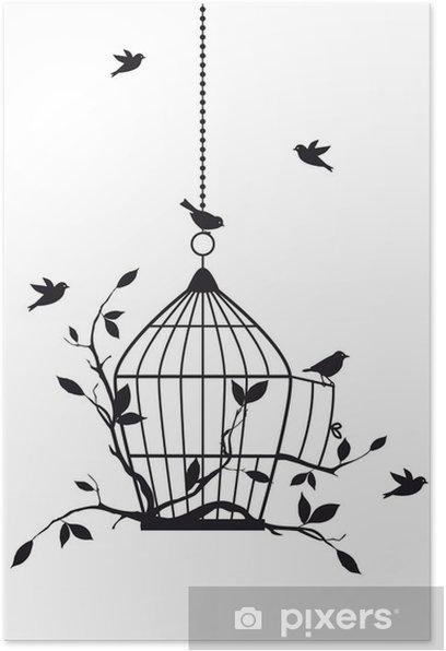 free birds with open birdcage, vector Poster -