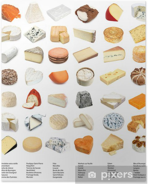 French and European cheeses (with names) Poster