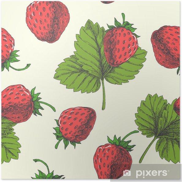 Póster Fresa. vector sin patrón. Ilustración floral dibujado a mano - Comida