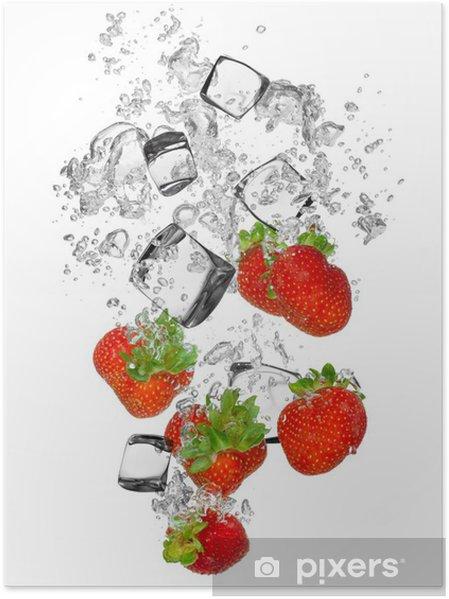 Póster Fresas frescas cayendo en el chapoteo del agua - Vinilo para pared