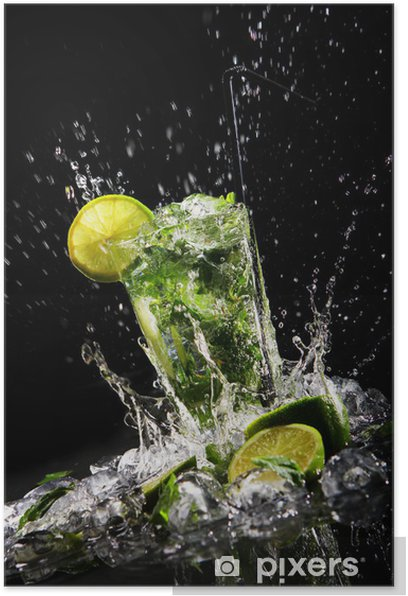 Fresh drink with green lime Poster - Restaurant