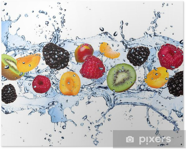 Fresh fruits in water splash, isolated on white background Poster - Raspberries