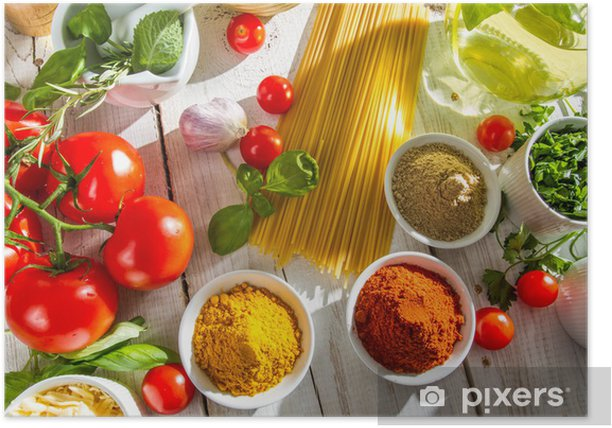 Fresh vegetables and spices in Italian cuisine Poster - Themes