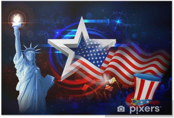 Poster Frihetsgudinnan med amerikanska flaggan - Monument