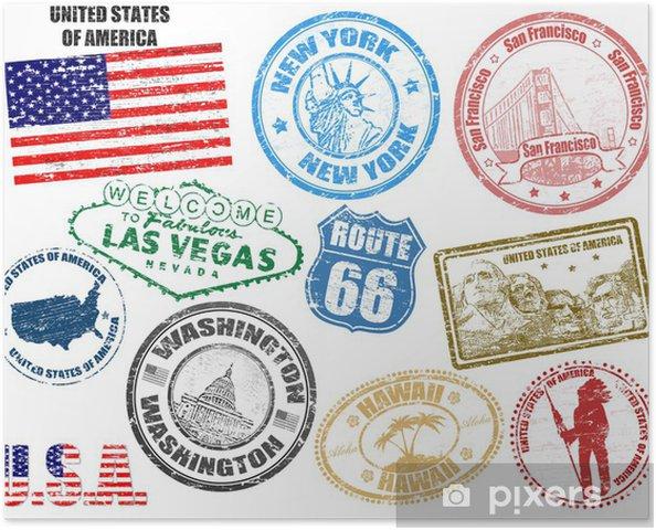 Poster Frimärken med Amerikas förenta stater - Amerikanska städer
