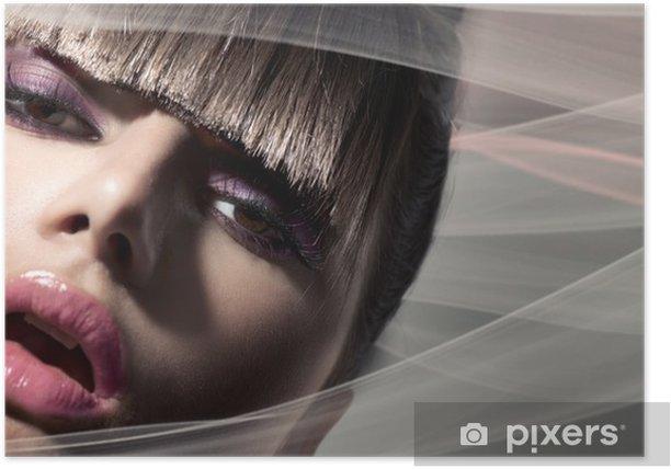 Poster Fringe. Girl Fashion modèle avec la mode Coiffure - Femmes
