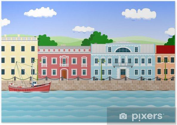 Poster Front de mer dans la vieille ville - Vacances