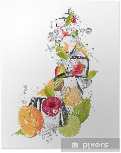 Poster Fruit de glace sur fond blanc - Sticker mural