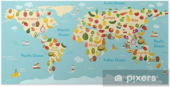 Preschool World Map.Fruit World Map And Vegetables Vector Illustration Preschool