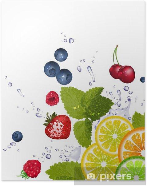 Poster Fruits et les éclaboussures d'eau - Agriculture