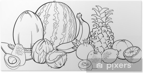Coloriage Fruits Tropicaux.Poster Fruits Tropicaux Illustrations Pour Le Livre De Coloriage