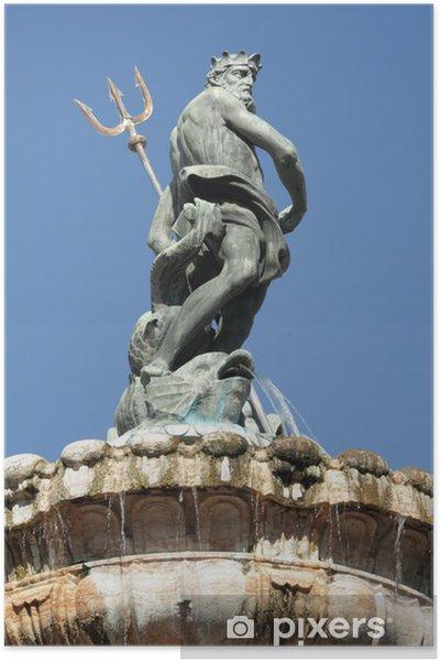 Póster Fuente de Neptuno en la ciudad italiana Trento - Europa