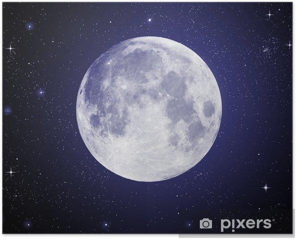 Poster Full Moon i högupplöst med stjärnor i bakgrunden - Stjärnor