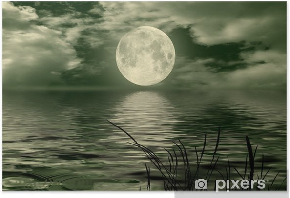 Full moon image with water Poster - Themes