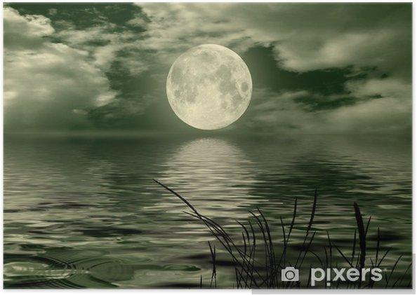 Poster Fullmåne bild med vatten - Teman