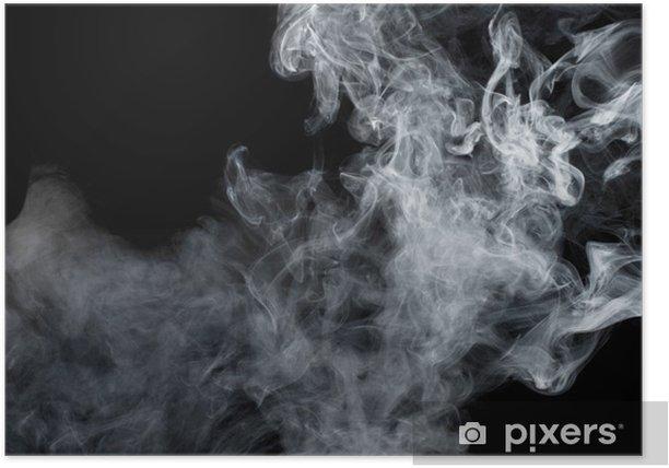 Poster Fumée blanche sur fond noir. Isolé. - Styles