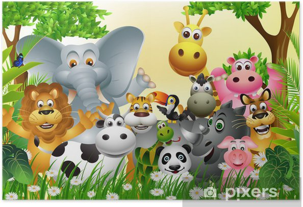 funny animal cartoon with tropical forest background Poster - Pupil