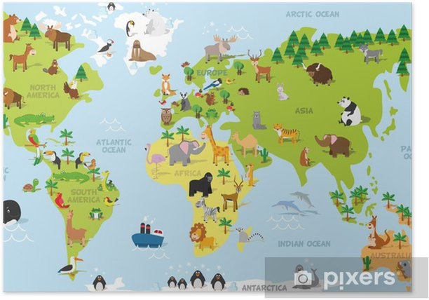 Funny cartoon world map with traditional animals of all the continents and oceans. Vector illustration for preschool education and kids design Poster - PI-31