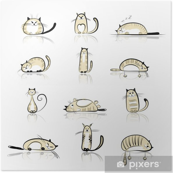Funny cats collection for your design Poster