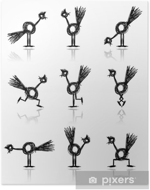 Funny cock collection for your design Poster