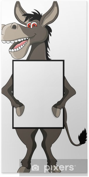 Funny Donkey Cartoon Smiling With Blank Sign Poster