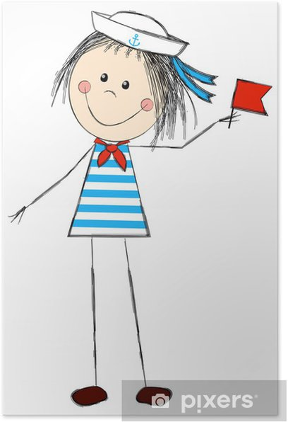 Funny girl wearing sailor costume Poster - Children