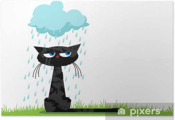 Funny unhappy cat and rainy cloud Poster - Destinations