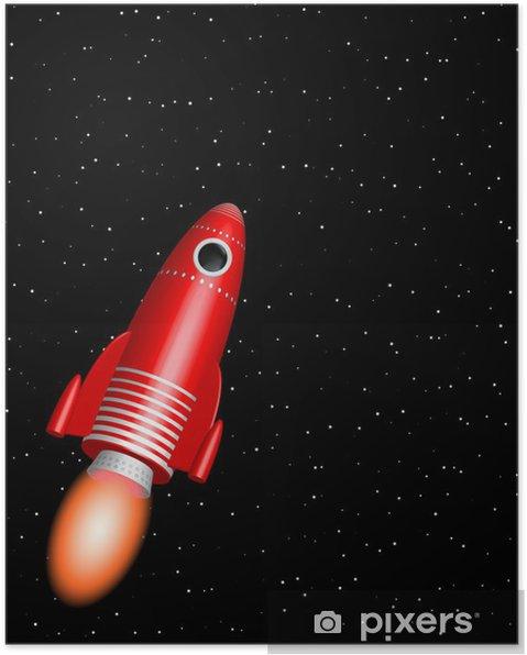 Poster Fusée rouge - Espace