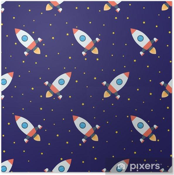 Poster Fusées dans le modèle sans couture de l'espace - Ressources graphiques