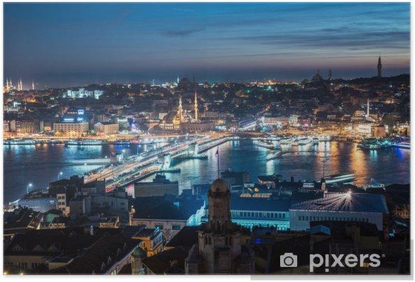 Poster Galatabrug Istanbul Bosporus nacht - Midden Oosten