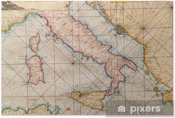 Gammal Karta Italien.Poster Gammal Karta Av Italien Sicilien Korsika Kroatien Och