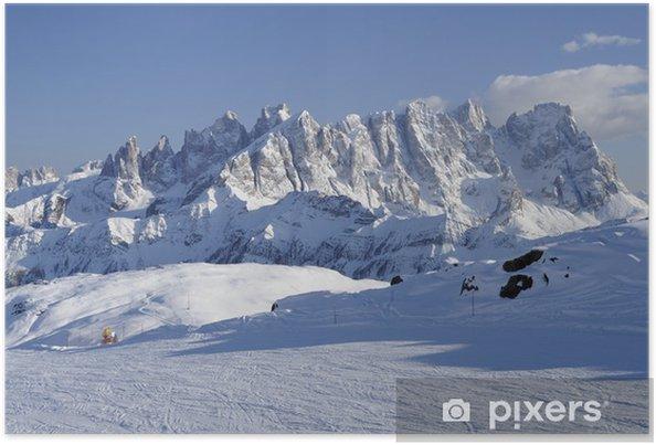 Poster Gamme pâle et pistes de ski, Dolomites - Europe