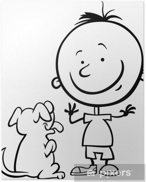 Poster Garçon avec la bande dessinée de chien de coloriage page - Mammifères
