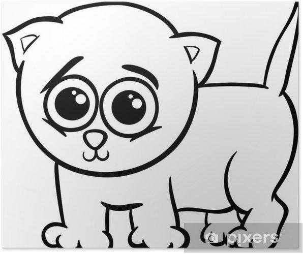 Póster Gatito Del Bebé Para Colorear De Dibujos Animados
