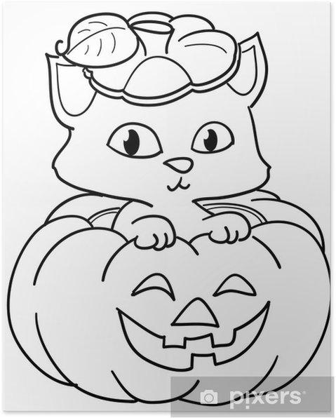 Póster Gato dentro de una calabaza de Halloween para colorear ...