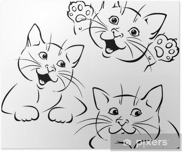Póster Gato Jugando Vector Silueta Ilustración Negro Pixers