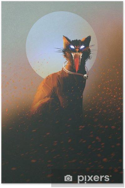 Póster Gato malvado en un fondo de la luna, no-muertos, el concepto de terror, ilustración - Hobbies y entretenimiento
