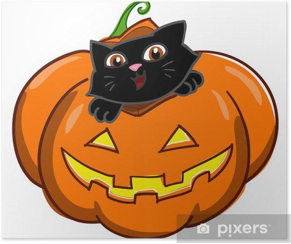 Zucca Halloween Gatto.Gatto Che Sbuca Da Una Zucca Di Halloween Poster