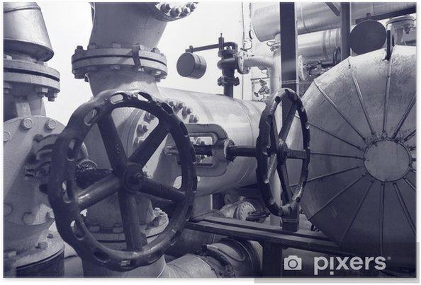Poster Gaz de l'industrie et de tuyaux d'huile - Bâtiments commerciaux et industriels