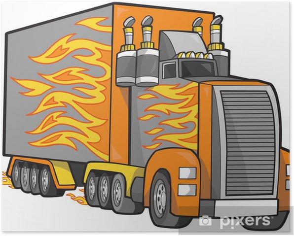 Poster Géant Truck Vector Illustration - Sur la route