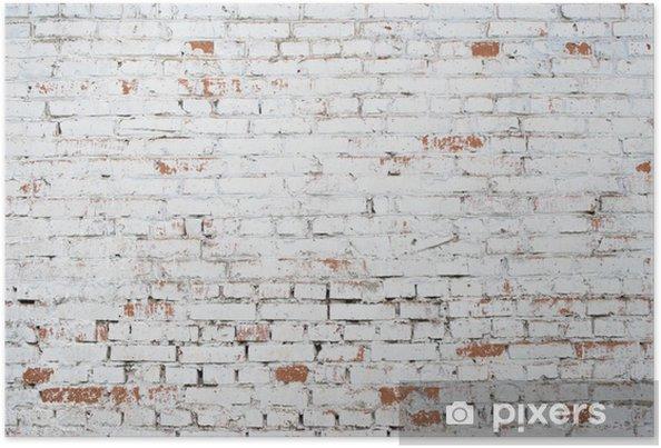 Poster Gebarsten witte grunge bakstenen muur geweven achtergrond gekleurd oud - Thema's