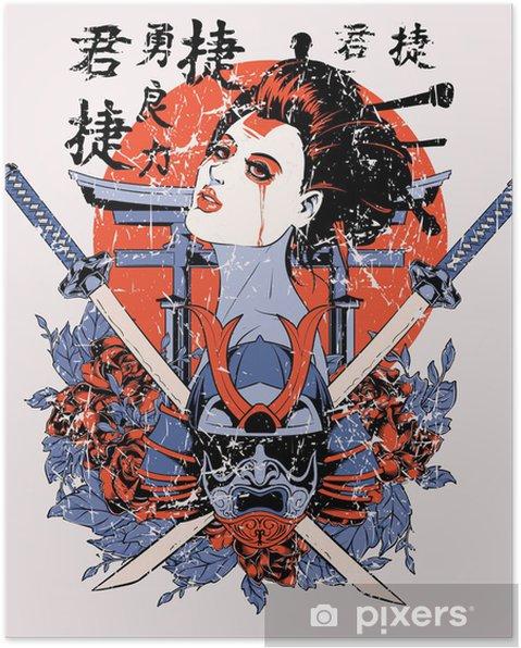 Poster Geisha - Tekens en Symbolen